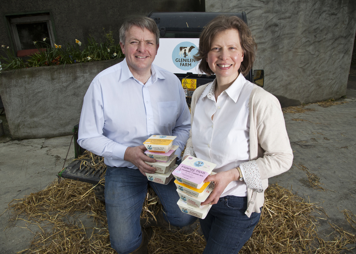 CMK 29042013 REPRO FREE NO FEE Yum on the Farm: Alan and Valerie Kingston of Glenilen Farm in Drimoleague, West Cork pictured at the launch of the new range of kids yoghurts. Glenilen Farm, the successful family-owned and run dairy business in West Cork is investing €300k in the production and distribution of a new range of Irish yoghurt products for children and babies, which are available in supermarkets throughout Ireland from today. The new product ranges see Glenilen Farm continue its focus on simple, natural food by creating great tasting products using just three ingredients, something which it expects will put smiles on the faces of kids and parents across Ireland and continue the growth of the Glenilen Farm turnover value now at close to €4 million. Picture: Clare Keogh News and business releases with further information gone to news desks and business desks. Further info Liz Flynn, Flynn Communications (01) 872 7430 / (087) 6815448
