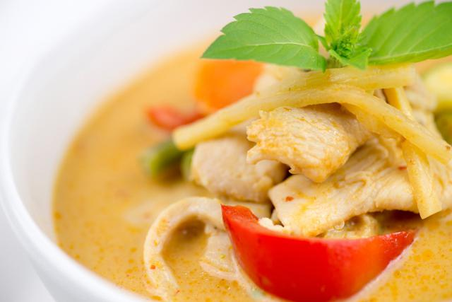 Close-up Of Thai Chicken Red Curry With Mixed Vegetables