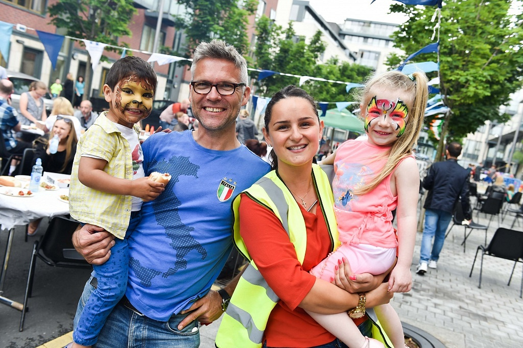 Lucas and Michael Ingle with Jennapher Gleeson and Amelia Rose Kenny enjoying the Street Feast Celebrations on Horse Fair, Grand Canal Dock.