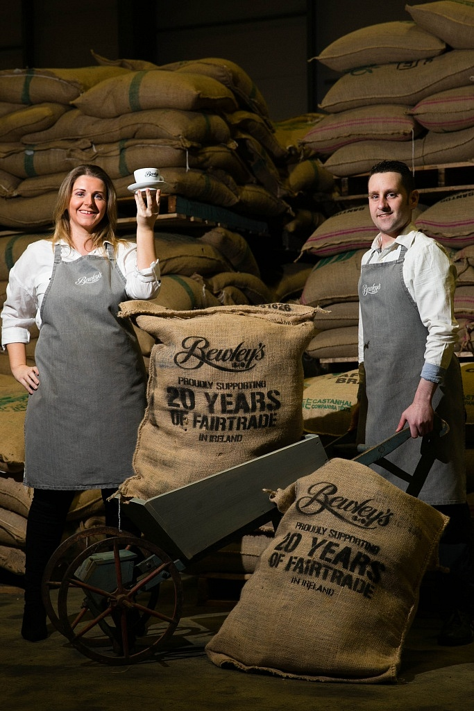 CAPTION: RELEASE 29/02/2016: Bewley's investing $6m (€5.3m) to make all Bewley's-branded fresh coffee Fairtrade Certified: Ireland's leading fresh coffee company, Bewley's, will further grow its direct links with coffee producers in developing countries by converting all of its branded fresh coffee products to Fairtrade Certified coffee in a new $6m (€5.3m) programme, announced today. Bewley's was the first to bring Fairtrade coffee into Ireland in 1996. Pictured at the announcement were Patrick Bewley of Bewley's with Baristas Eileen Maher and Gary Hollywood. Photography by Shane O'Neill Photography.