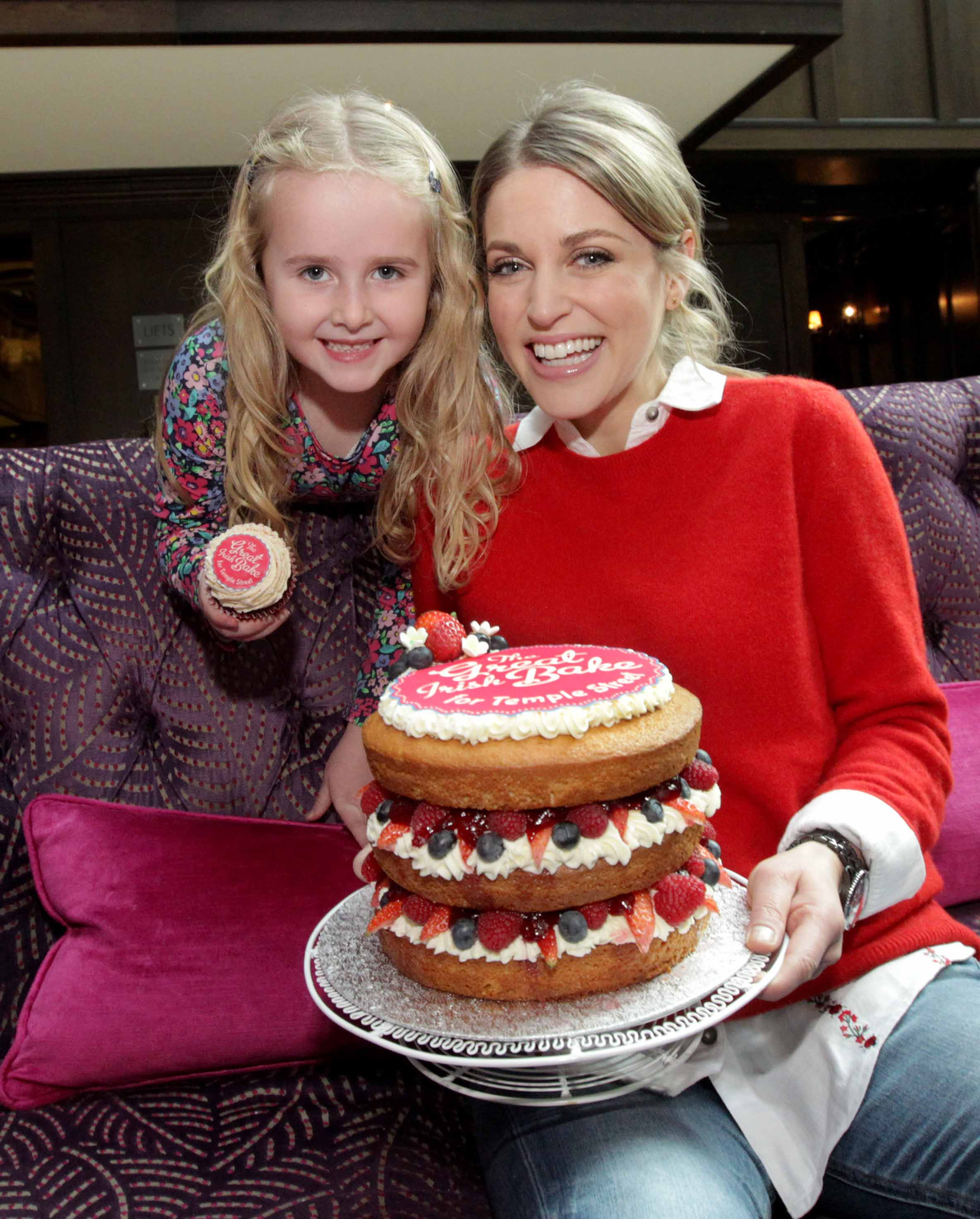 Actress and writer Amy Huberman joins six-year-old Mia McDermott to officially launch the Great Irish Bake for Temple Street.